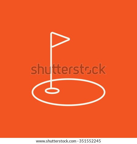Golf hole with a flag line icon for web, mobile and infographics. Vector white icon isolated on red background. - stock vector