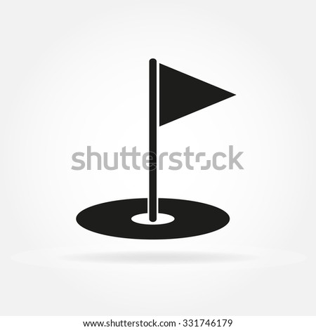 Golf hole with flag. Golf court icon in flat style. Vector illustration. - stock vector