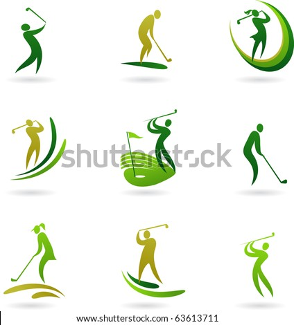 Golf icons collection - stock vector
