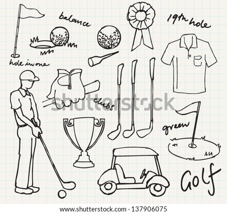 Golf icons collection drawing vector - stock vector