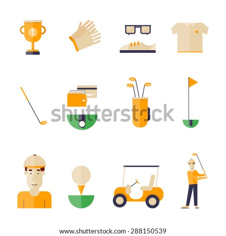 Golf icons in a flat style. - stock vector