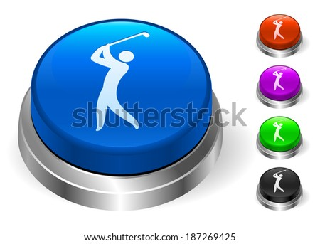 Golf Icons on Round Button Collection - stock vector