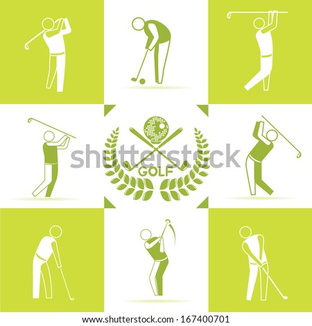 golf icons set, golf club background, green color theme - stock vector