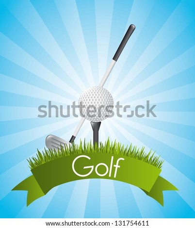 golf illustration over blue background. vector background - stock vector