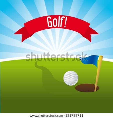 golf illustration over landscape background. vector illustration - stock vector