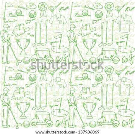 Golf images seamless pattern - stock vector