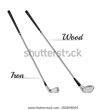 Golf iron and wood clubs posters can use for logo design