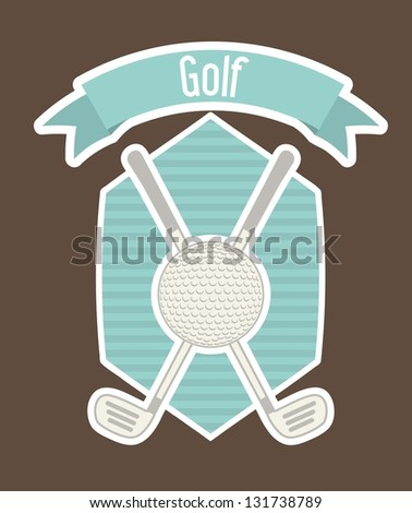 golf label with ball and over brown background. vector illustration - stock vector