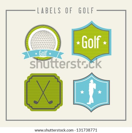 golf labels over beige background. vector illustration - stock vector