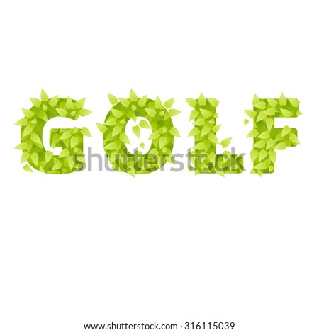 Golf logo vector. Grass golf letter. Grass and bush for golf. Emblems for golf with grass. Golf sport design element. Golf logo with grass isolated on white background - stock vector