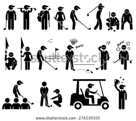 Golf Player Actions Poses Stick Figure Pictogram Icons - stock vector