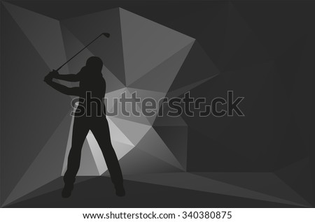 Golf player silhouette, card, flyer