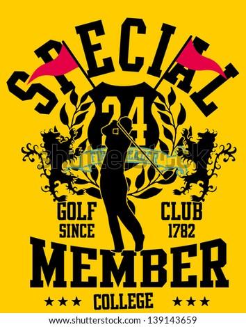 golf player vector art - stock vector