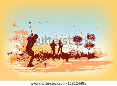 Golf players and equipment - stock vector