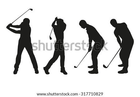 Golf players. Vector silhouettes set - stock vector
