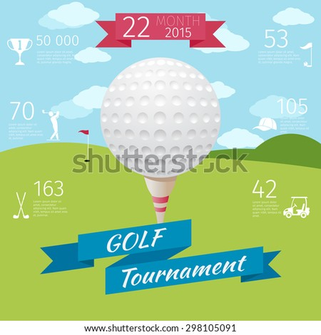 Golf poster. Design competition, sport tournament, game banner, golfing and play. Vector illustration - stock vector
