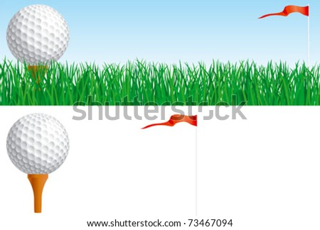 Golf set. Vector banner of Golf ball and flag on green grass and Golf ball and flag isolated on white background - stock vector