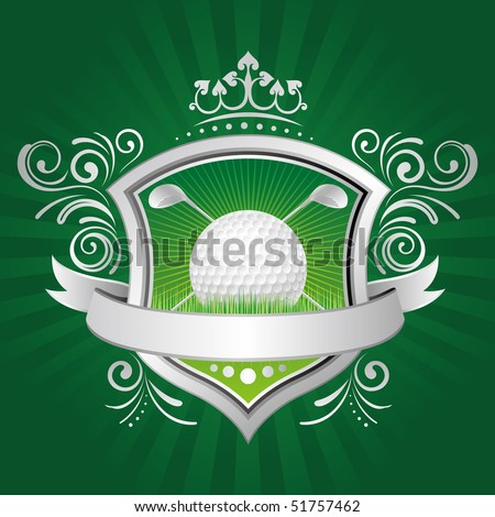 golf,shield,crown,green background