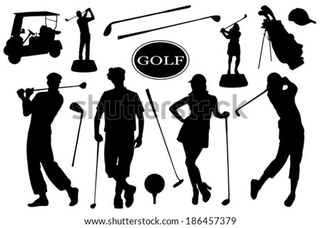 golf silhouettes on the white background - stock vector