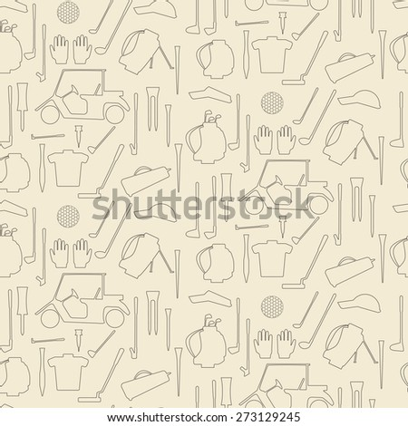 Golf sport items linear seamless texture.  Driver, wood, iron, wedge, putter golf clubs and cart . Tee, ball and glove.  Editable and  design suitable. - stock vector
