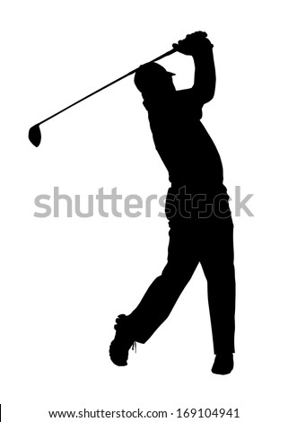 Golf Sport Silhouette �¢?? Golfer finished hitting Tee-shot - stock vector