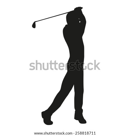 Golf swing. Vector golfer silhouette - stock vector