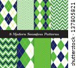 Golf Theme Chevron and Argyle Patterns in Grass Green, Navy Blue and White with Lime Stripe. Pattern Swatches made with Global Colors - easy to change all patterns in one click. - stock photo
