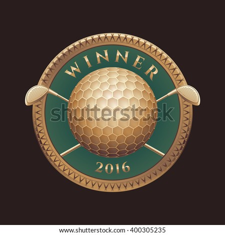 Golf tournament, competition vector logo, sign, symbol, emblem. Golden trophy, prize, design element with two golf putters as crest and ball - stock vector
