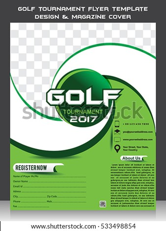 Golf Tournament Flyer Template Design Magazine Stock Photo Photo