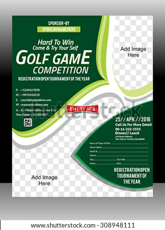 Golf Tournament Flyer Template Vector Illustration Stock Vector