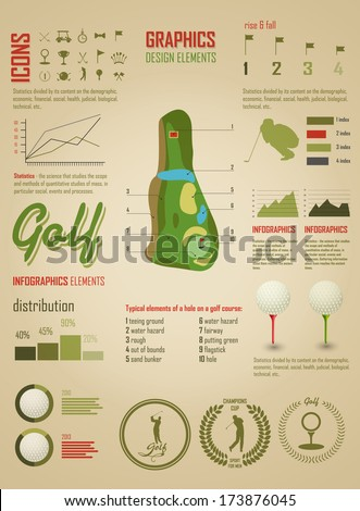 Golf. Vector Labels. Set elements of infographics about golf game - stock vector