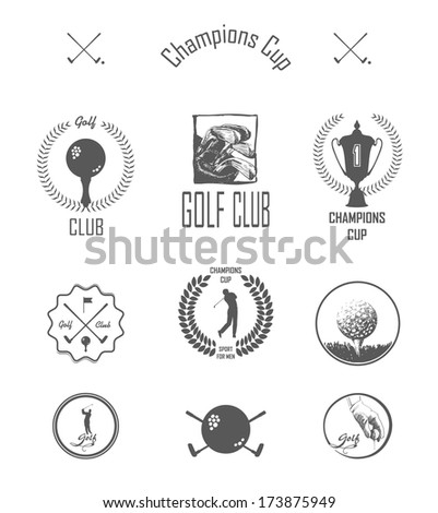 Golf. Vector Set Golfing Champion Labels and Icons - stock vector