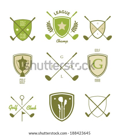 Golf. Vector Set Golfing Champion Labels and Icons