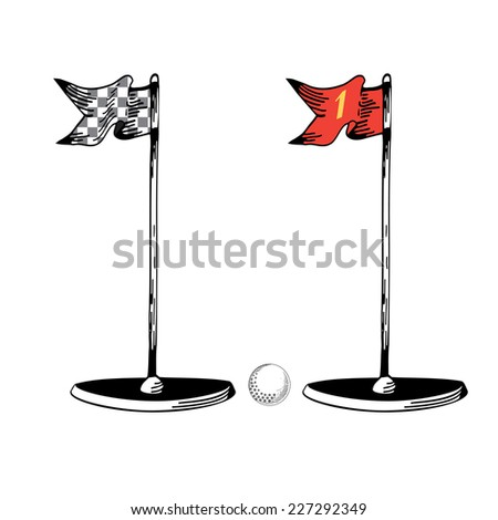 Golf. Vintage golf flag. Vector Golfing Champion Icons. Golf ball. Icons. Professional sport elements. Eps 8 - stock vector