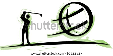 Golfer and golf ball - stock vector