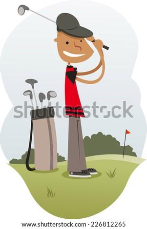Golfer cartoon illustration - stock vector