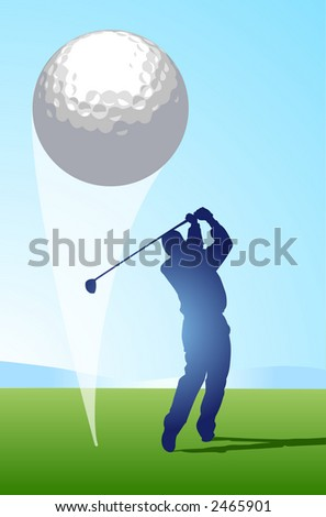 Golfer hitting ball that occupies a large part of the foreground creates a strong graphic impact - VECTOR - stock vector