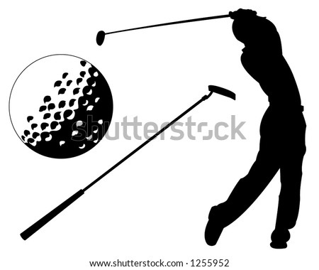 Golfer silhouette  Accompanied with a Golf Ball and a Club - stock vector