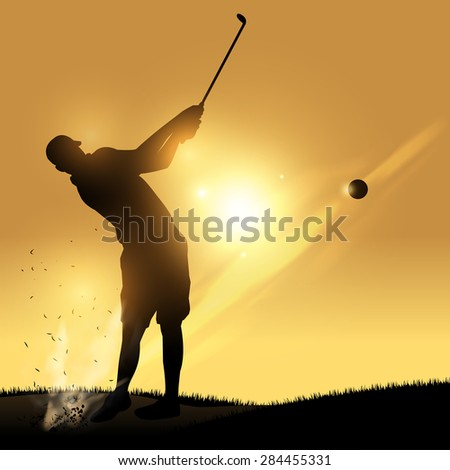 Golfer silhouette hard swinging with yellow background - stock vector