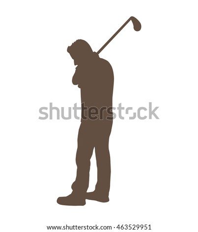 golfer silhouette player isolated icon vector illustration graphic