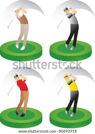 Golfer swinging on green platform - stock vector