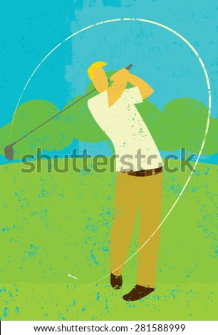 Golfer teeing off A golfer teeing off on the golf course. - stock vector