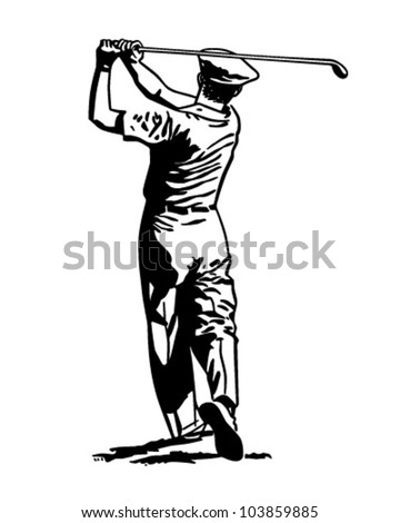 Golfer Teeing Off 2 - Retro Clipart Illustration - stock vector