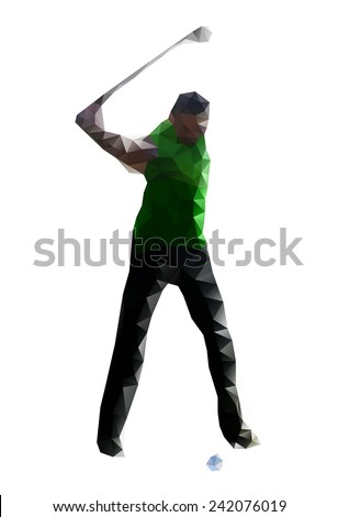 Golfer Teeing Off. Vector drawing  created from triangles - stock vector