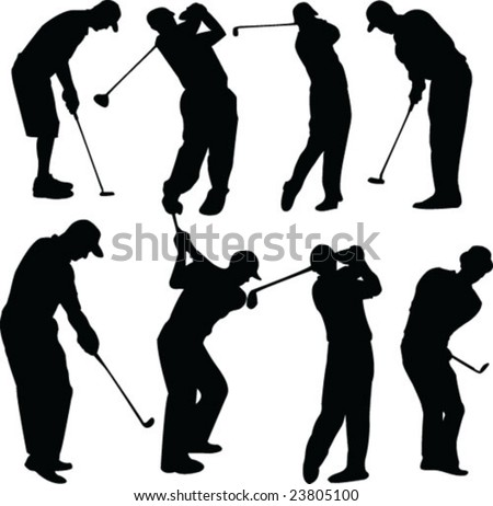 golfers collection - vector - stock vector