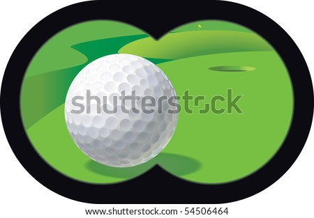 golfing with binoculars. observation with binoculars for the development of a game situation - stock vector