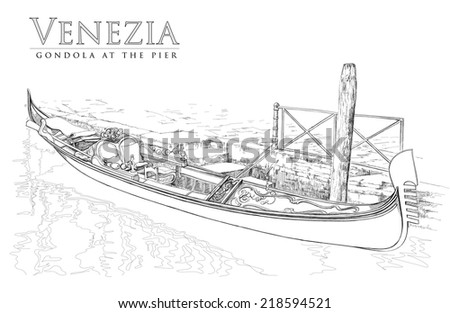 Gondola at the pier - stock vector