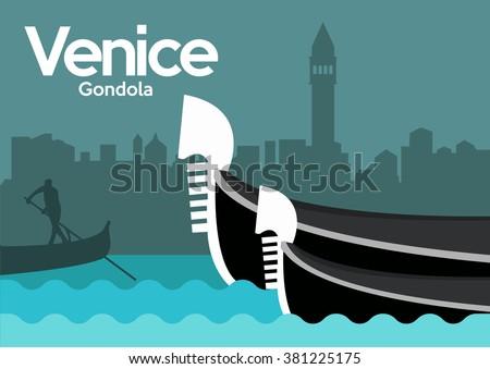 Gondola in Venice,Italy - stock vector