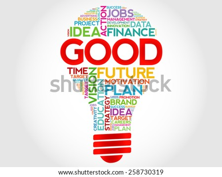 GOOD bulb word cloud, business concept - stock vector