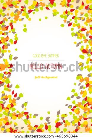 Good Buy Summer, Hello Autumn Card. Autumn Leaves. Text Frame. Warm Fall